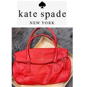 Kate spade Red leather fold over satchel